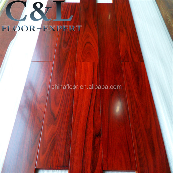 prefinished smooth glossing mahogany color rose wood engineered wood flooring