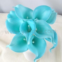 Tiffany blue real touch calla lily artificial wedding flower arrangements
