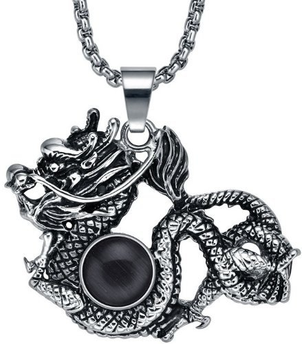 Gorgeous Style Chic Gothic Punk Rock Exquisite carvedChinese Dragon Wrapped Black Crystal Pendant Necklace -with 20 inch Chain