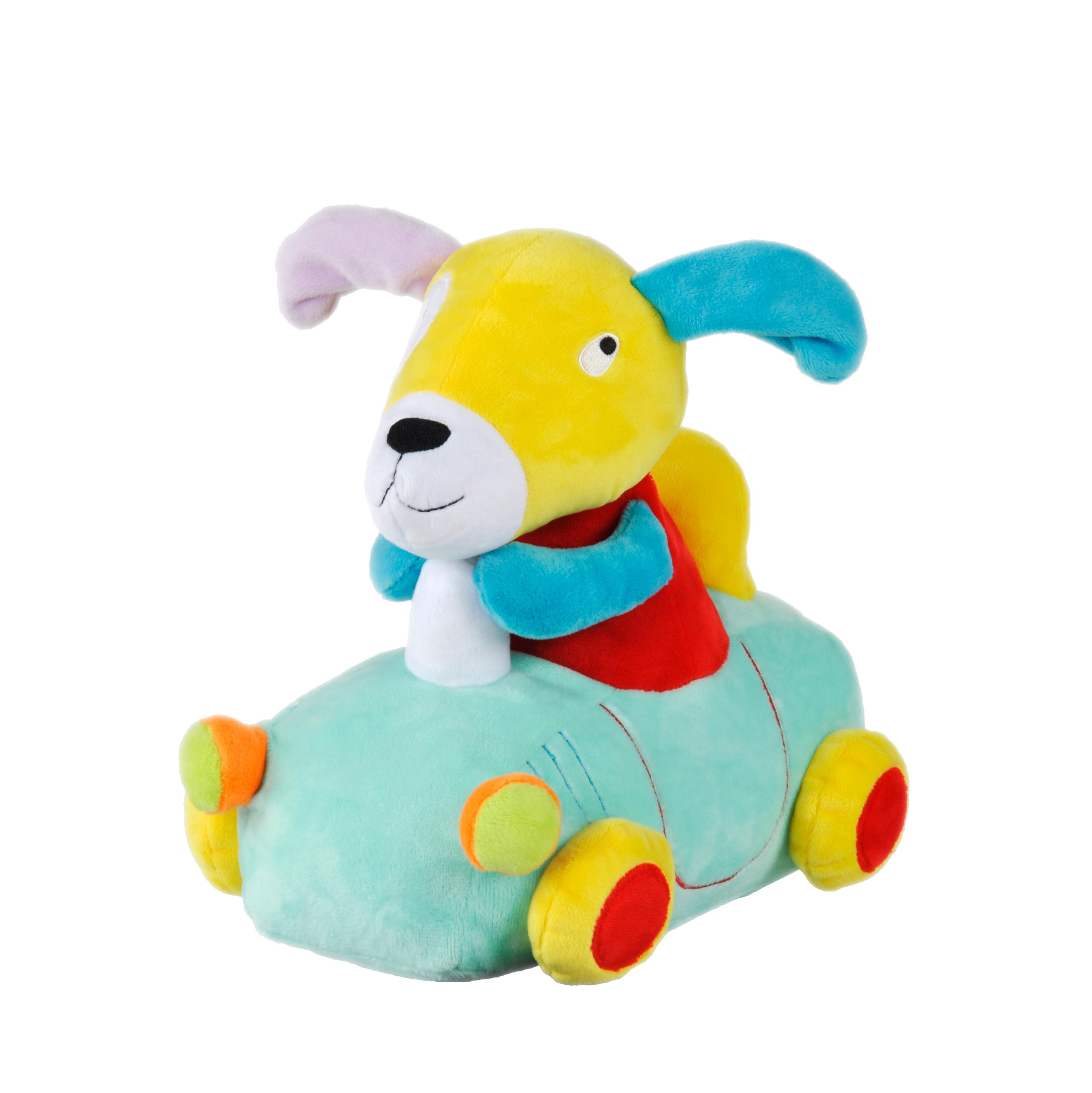 Guida auto cane peluche giocattoli animali farciti su ruote
