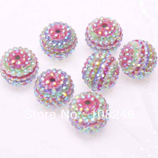 """100PCs Resin Spacer Beads Round Striped 10mm 3//8/"""" M1257"""