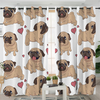 Hippie Pug Living Room Curtains Cartoon Cute Bulldog Decorative Curtain For Bedroom Window Treatment Drapes