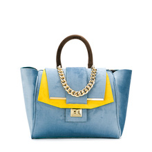 suede blue and yellow women's handbag luxury tote leather ladies suede fringe bags