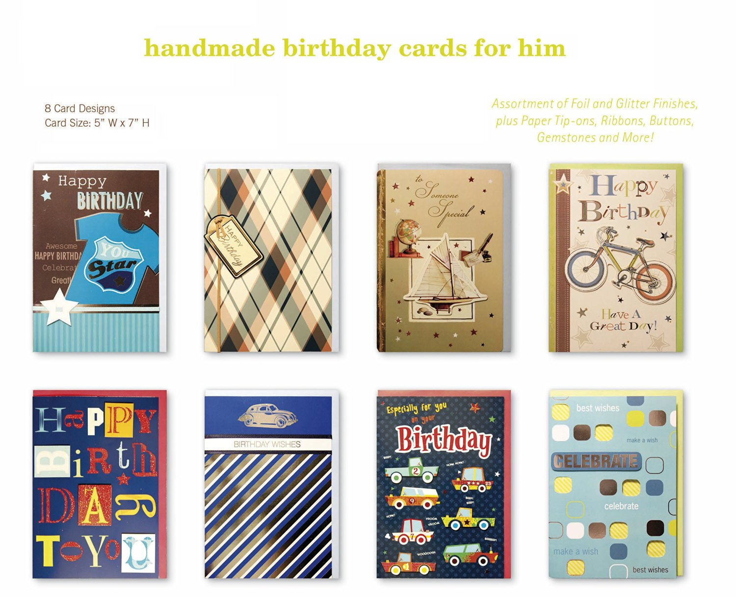 Assorted Handmade Embellished Birthday Cards Box Set 8 Pack Card Assortment In Bulk For