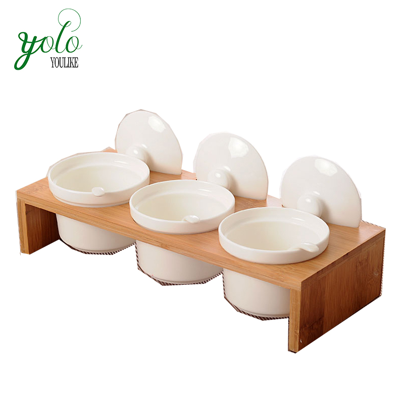 Bamboo Seasoning rack with 3 pcs ceramics Seasoning pot lid holder