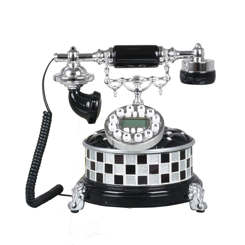 WXL Phone European Style Landline Phone Home Fixed Retro Creative Vintage Antique Telephone (Color : Black, Size : L25CMH26CM)