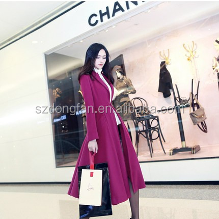 2018 Women New Fashion Winter Dress Coat Korea Style Woolen Red Rose