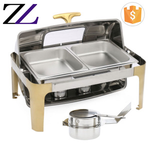 Kitchen cooking supplies roll top golden shafing dish parts buffet food warmer fuel heat holder liquid chafing dish gel fuel