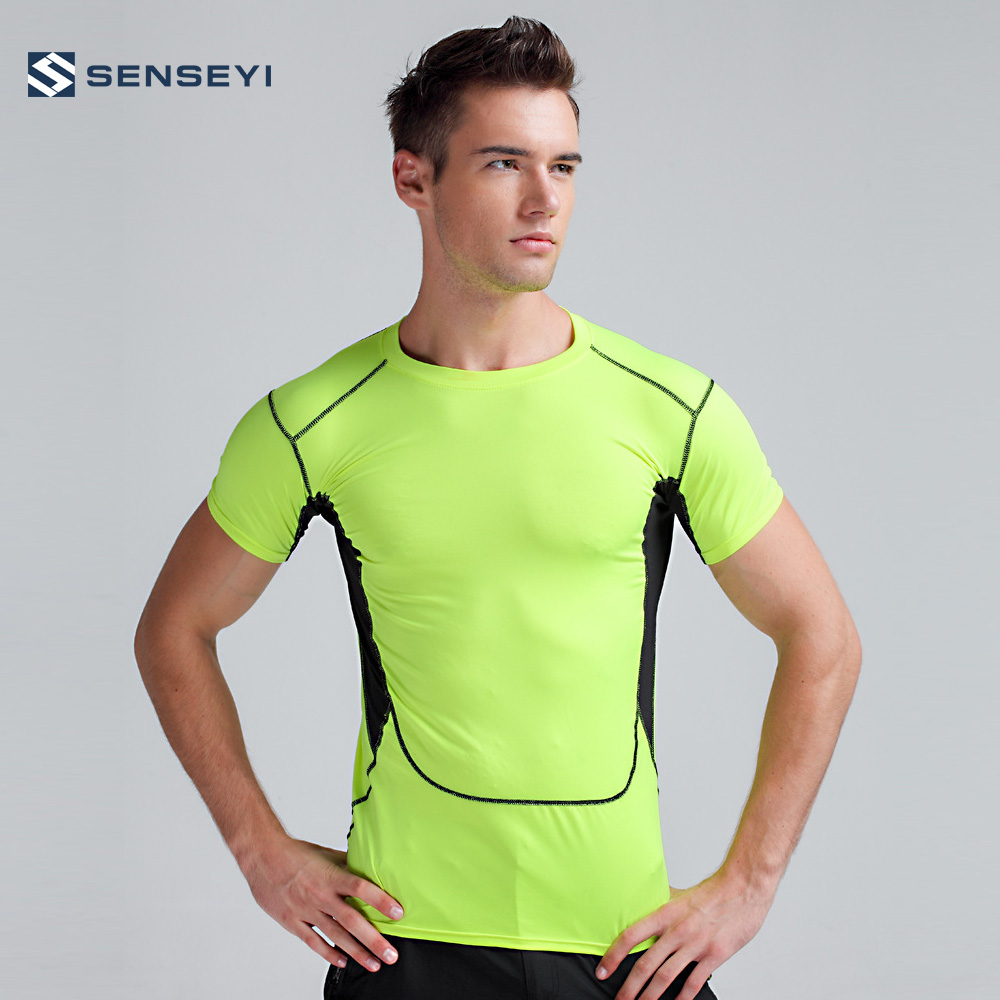 Activewear Tops S-xxl Men's Clothing Punctual Mens Yellow Skin Compression Tight Sports Baselayer Top Skins Training