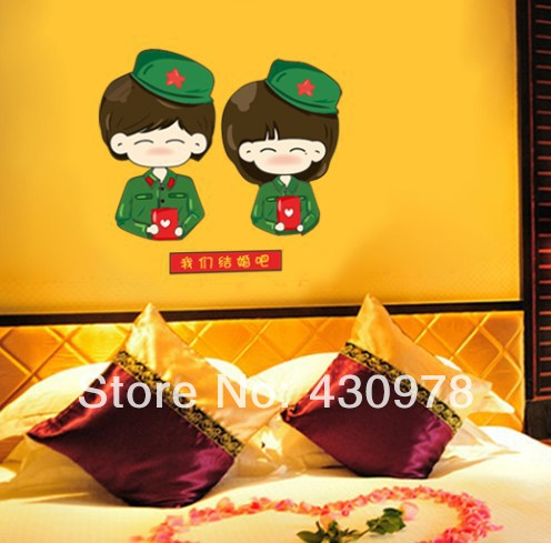 New Arrive QZ1199 Free Shipping Young Love Couple guerrillas Hat Removable PVC Wall Stickers <font><b>Elegant</b></font> <font><b>Home</b></font> <font><b>Decoration</b></font> Gift