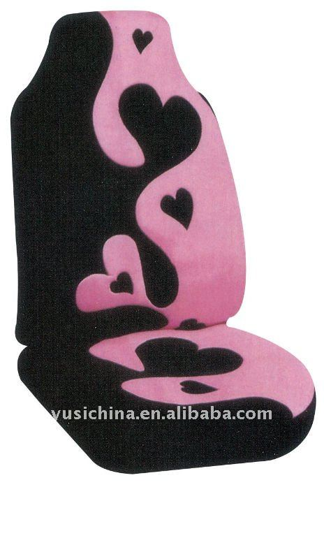 Printed Red Heart Car Seat Cover