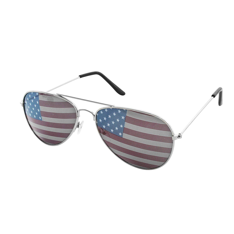 de6ccd36d3156 Get Quotations · Super Z Outlet American USA Flag Design Metal Frame  Aviator Unisex Sunglasses with Print Patterned Lens