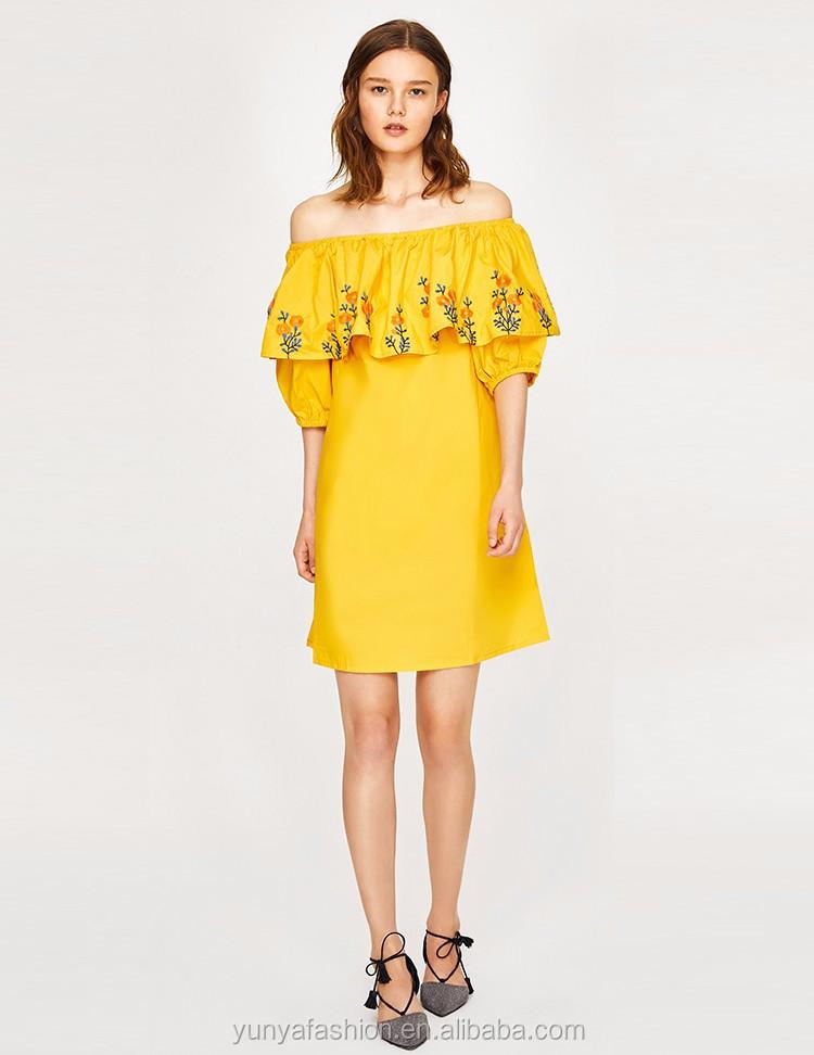 1ffa5ebcd 2018 nuevos productos verano casual boho amarillo fuera del hombro volante mexicano  bordado floral mujeres vestido.