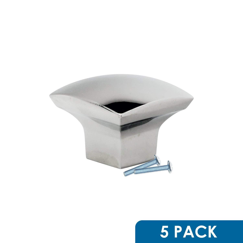 "5 Pack Rok Hardware Zen Dynasty Square Style Metal Nickel 1-7/32"" Decorative Kitchen Vanity Dresser Cabinet Drawer Door Knob K341831N"