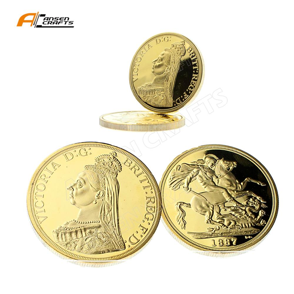 1 oncia di oro Sovereign Ford Victoria Regina Elisabetta Euro God of War Moneta con la Capsula