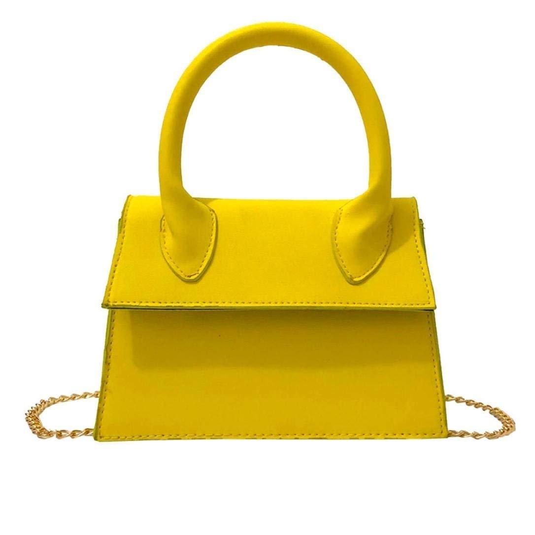 Women's Handbag Leather Pure Color Crossbody Bag Phone Bag Shoulder Bag Hand Bag (Yellow)