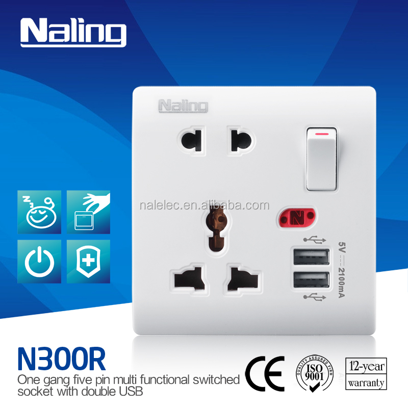 110-250V waterproof 13A Electronic Multi 5 PIN USB Wall Socket with 2 USB Ports