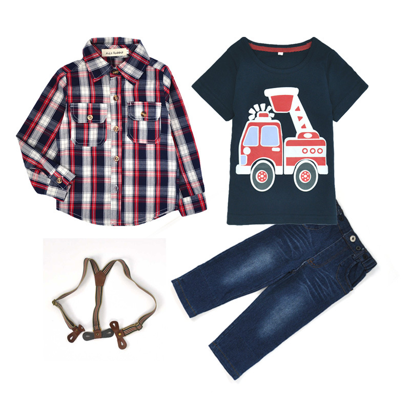 ST257 2016 children's clothing for baby spring sleeve print suit Long plaid shirts + T-shirt + jeans 3 pcs Set kids clothes
