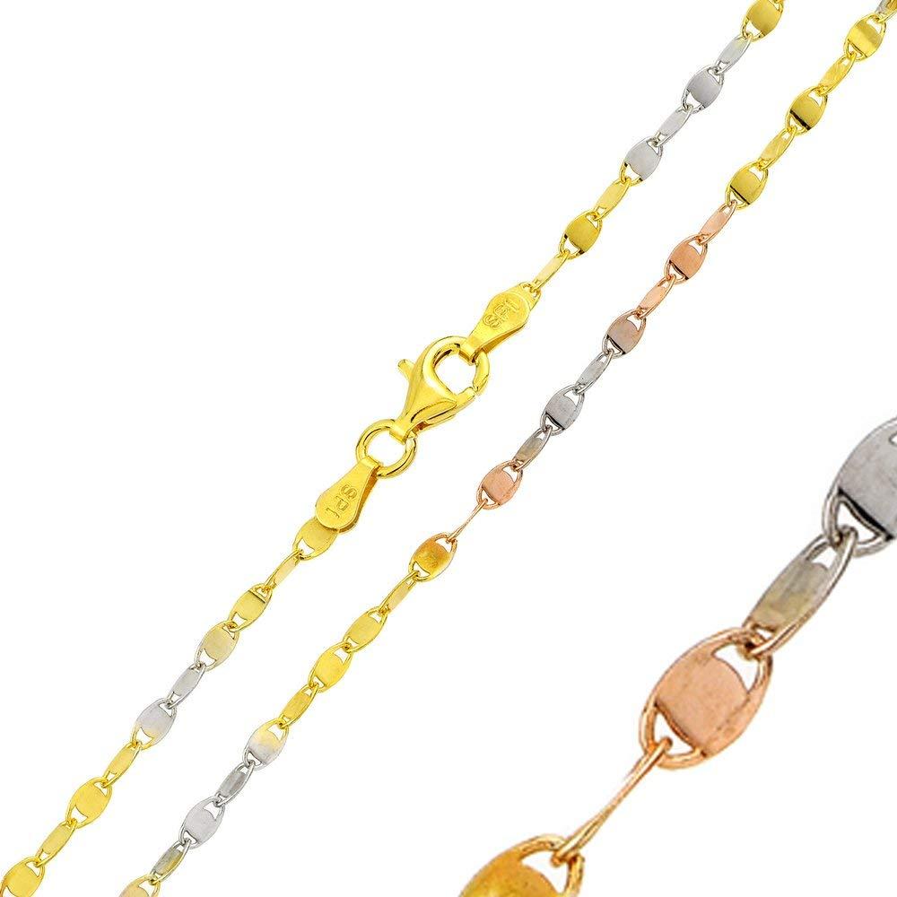 CloseoutWarehouse Sterling Silver Tri-Color Plated Alternating Lock Oval Confetti Multi Color 030 Chain 2.5mm
