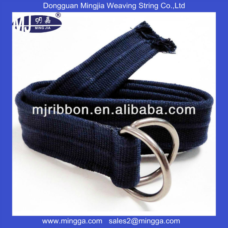 custom logo men's cotton weave belt with custom buckle