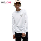 High quality multiple color cheap custom silk screen printing 220gsm 100% cotton fashion men white shirt knit long sleeve