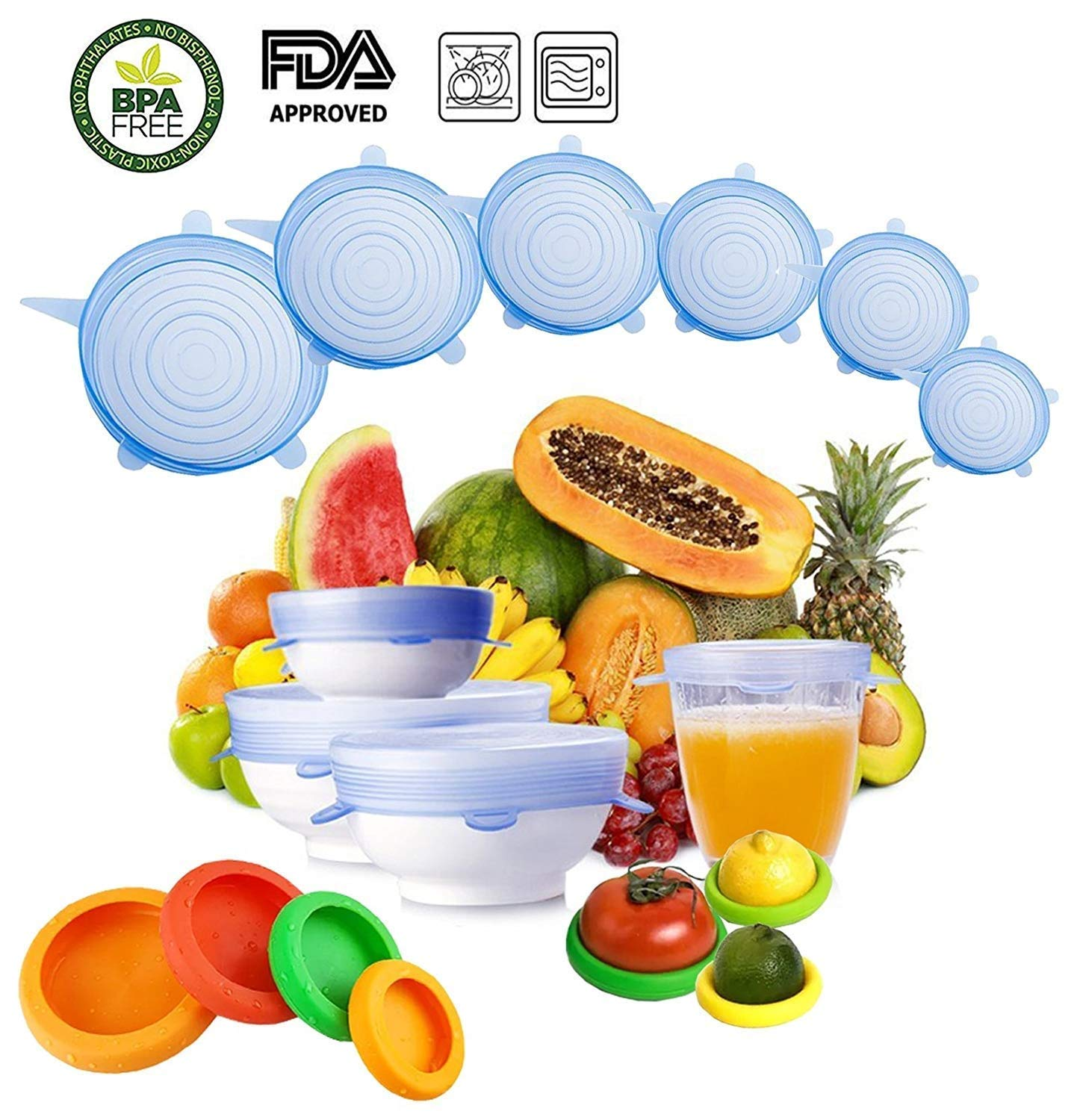Aneboom Silicone Stretch Lids,Insta lids,Food Saver,6-Pack of Various Sizes to Fit Various Size and Shape of Containers,Reusable, Keeping Food Fresh, Dishwasher and Freeze,4-Pack Food Saver Reusable