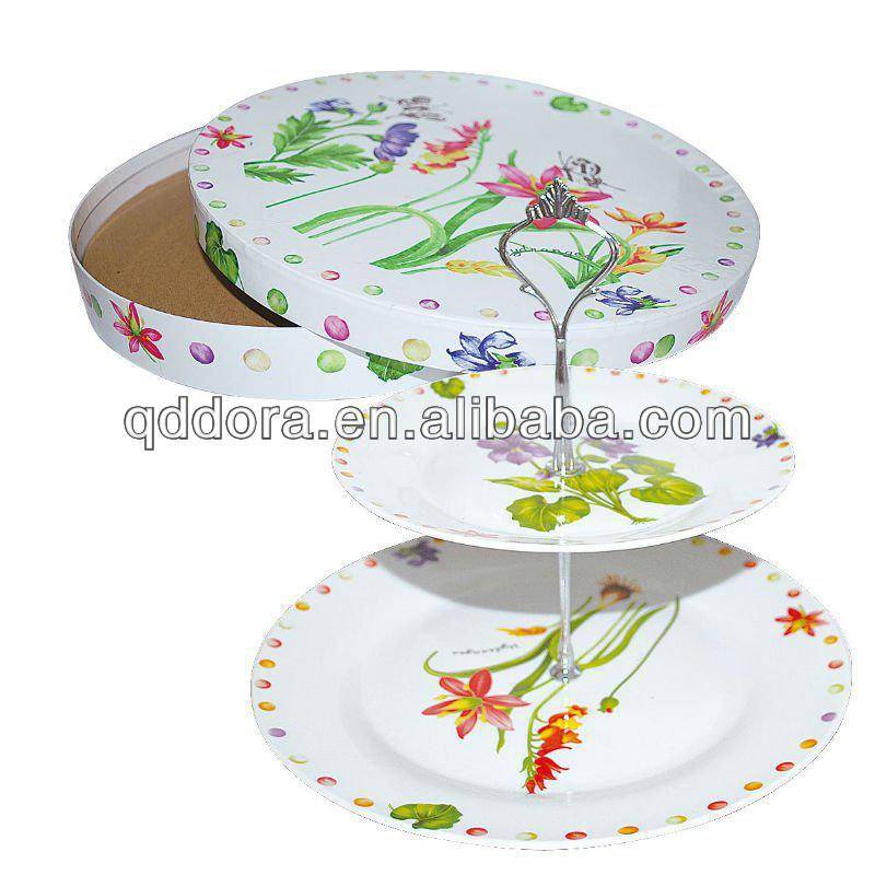 Porcelain cake stand 2 tiers porcelain cake plate with metal holder