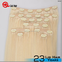 Chinese top wholesaler virgin Brazilian human hair curly is availiable natural blonde clip in hair extension