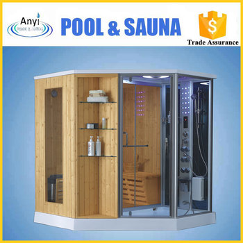 Sauna Shower Steam Room Combination Luxury Black Aluminium Framed