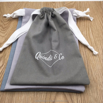 Light Grey Blue Cotton Linen Gift Packaging Bag With Ribbon