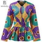 African Ankara Wax Fabric Print Fashion Jackets Coats Long Sleeve Woman Clothes 2019