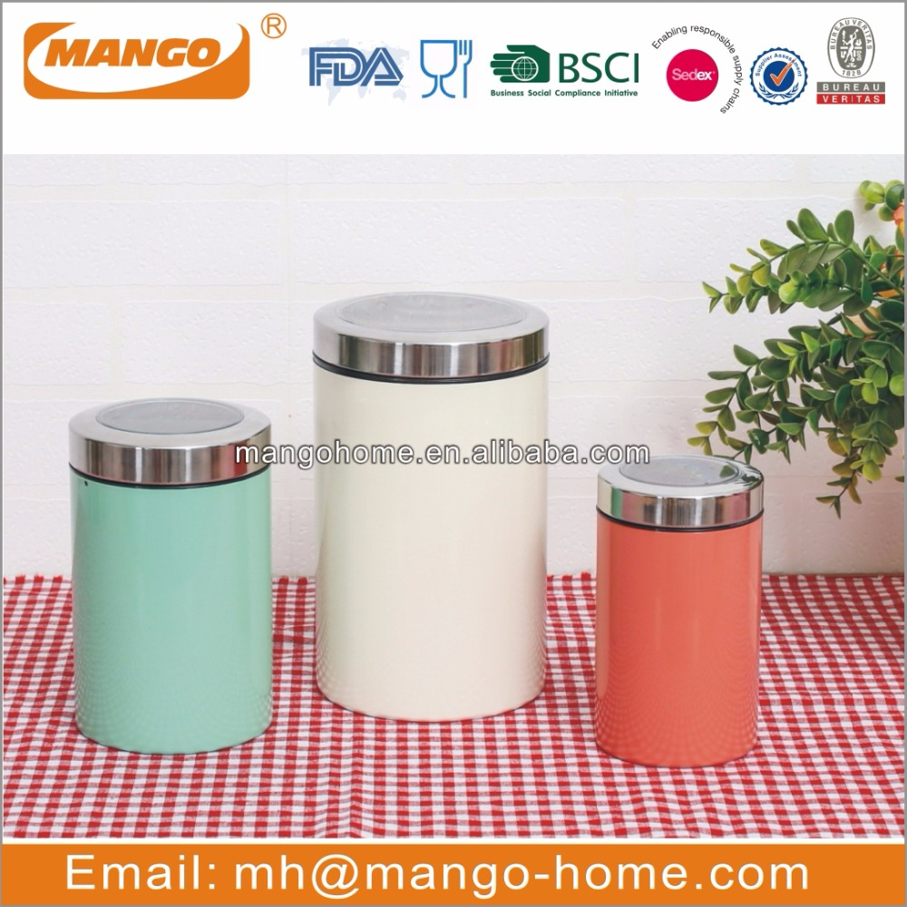 new stainless steel metal airtight food storage fresh kepping kitchen canister set with lid