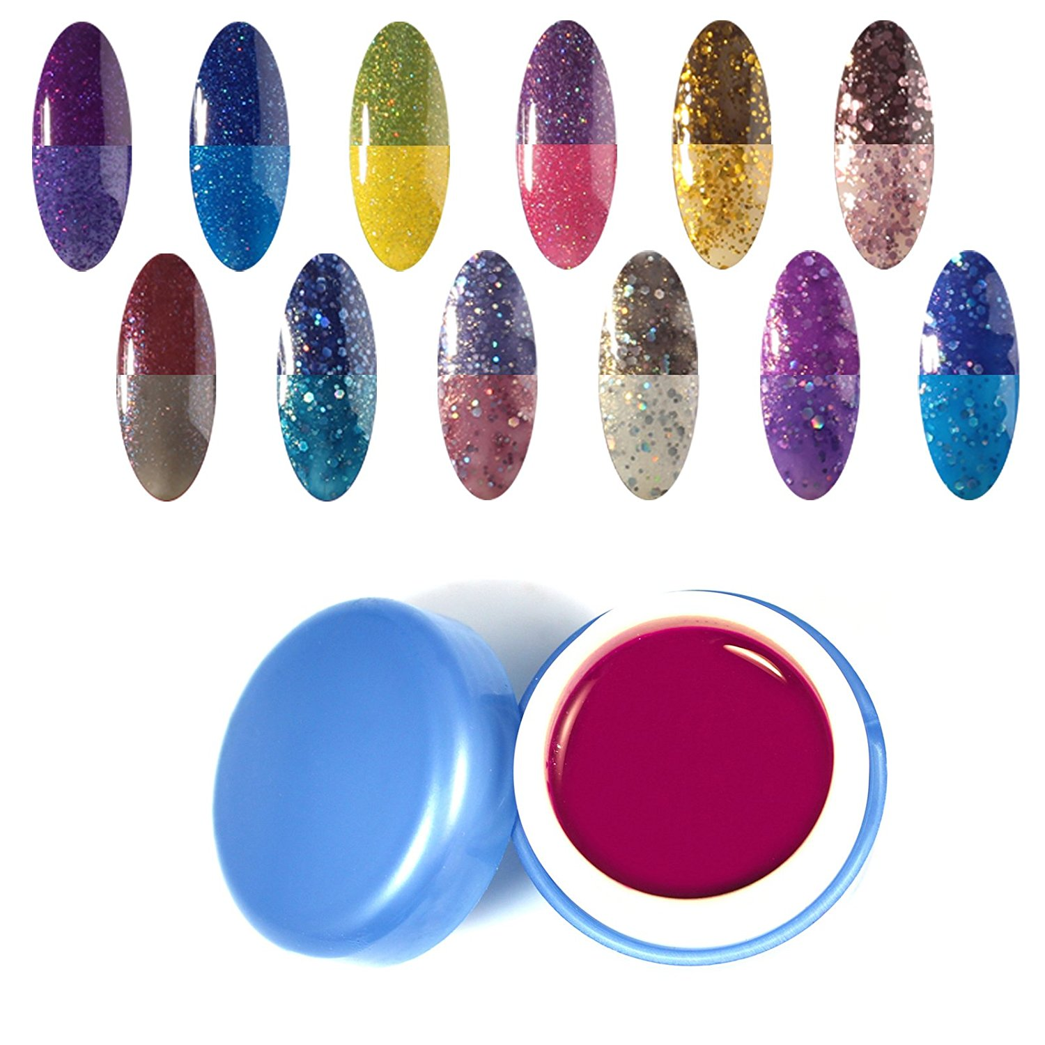 Perfect Summer New Best 12pcs 6ml Chameleon Temperature Change Colors Nail Lacquers Varnish Soak Off Led UV Gel Polish Mood Changing Salon Starter Kits #37