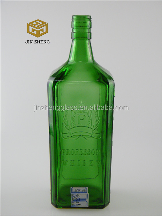 1000ml 1l Green Color Square Glass Whiskey Bottle/whiskey Bottle ...