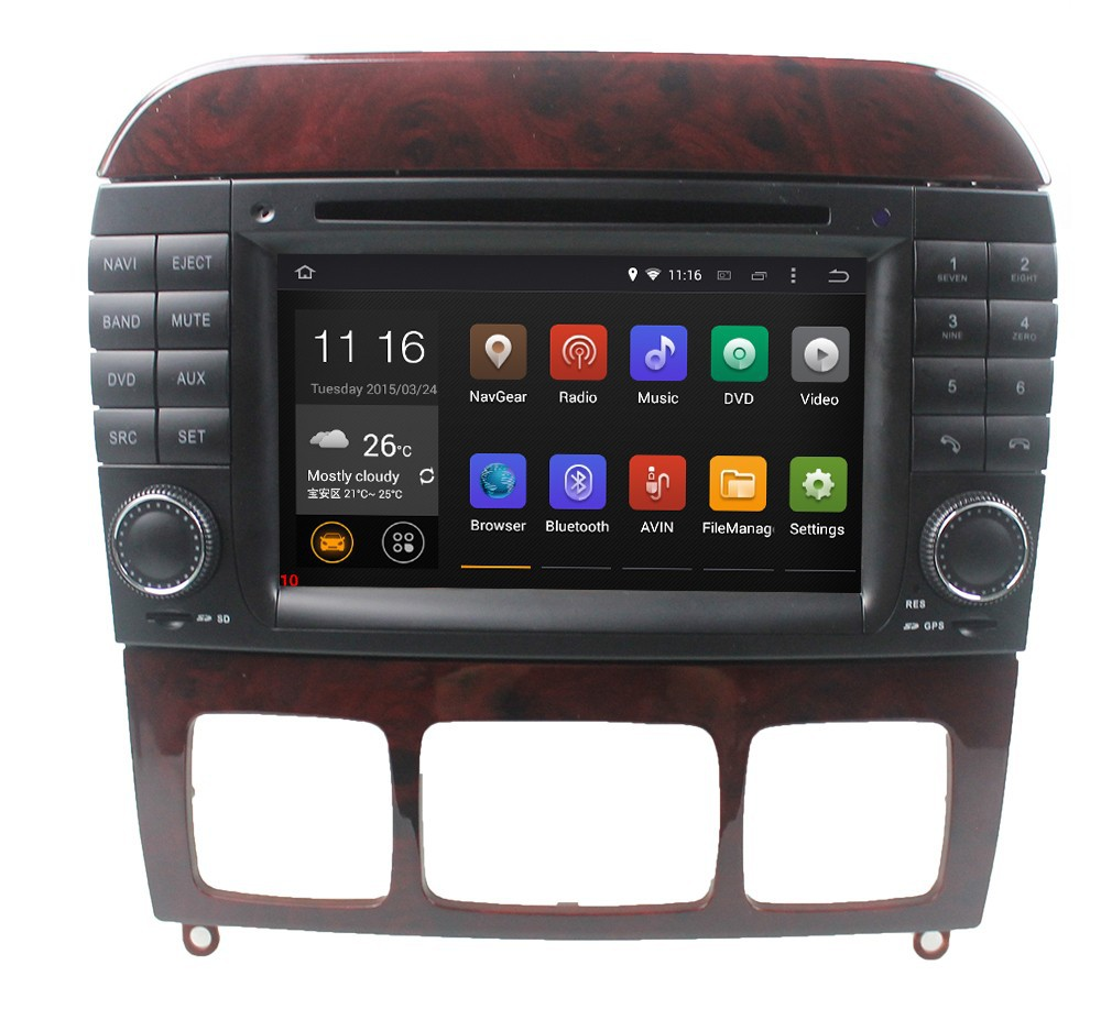 Android 4.4 Car GPS Navigation DVD for Mercedes S W220 S280 S320 S350 S400 S430 S500 w/ Radio BT USB WIFI 1024*600 Screen