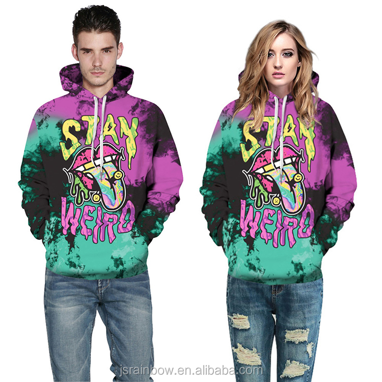2018 high quality custom made 3d sublimation hoodies for couple