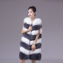2017 top quality winter warm real fox fur sleeveless women's gilet