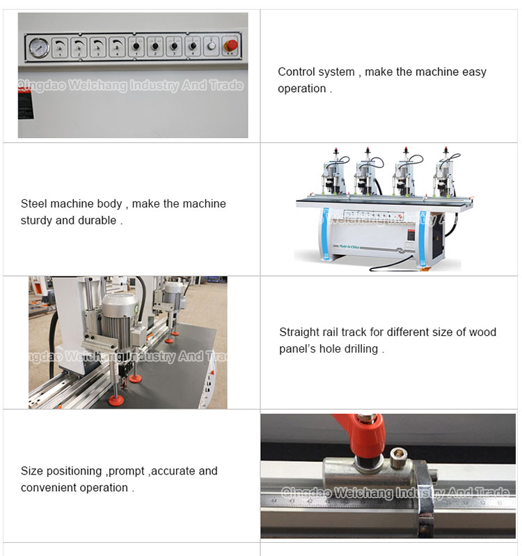 MZB73034 Four-head Cabinet Hinge Drilling Boring Machine