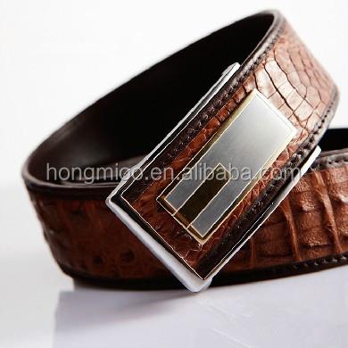 Alligator Skin Leather Belt Brown
