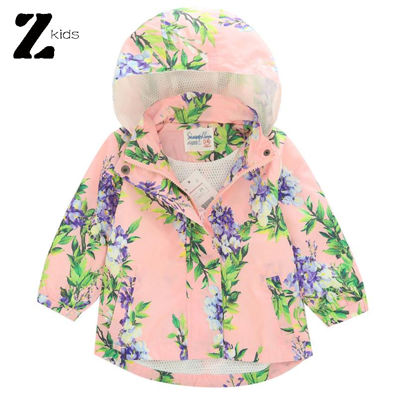 Girls Coats And Jackets Autumn Spring Casual Loose Floral Print Outerwear Children Windproof Outdoor Clothes Kids Tops 2015