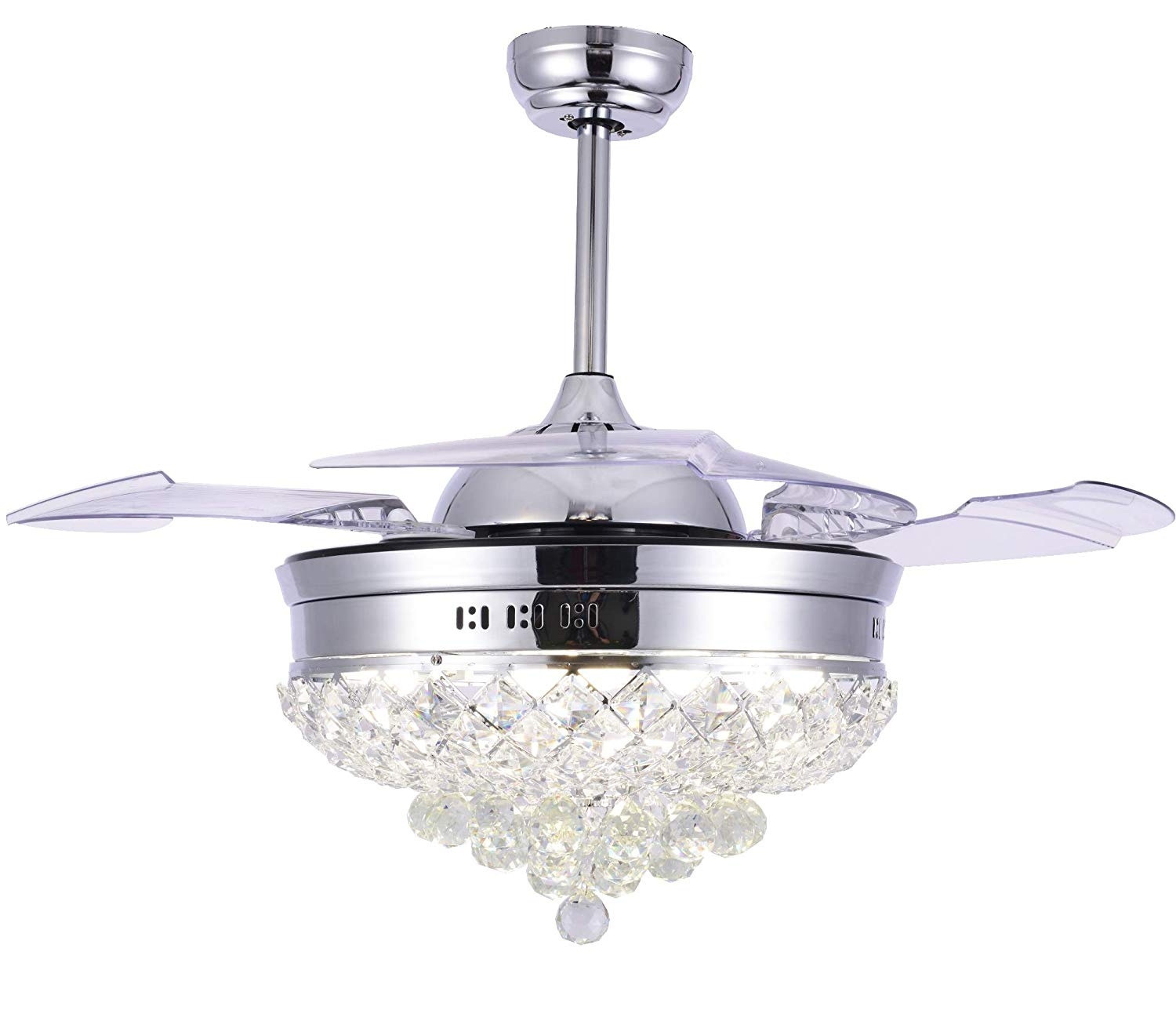 Get Quotations Bella Depot Fancy Retractable Ceiling Fan With Lights And Remote Control 42 Crystal Chandelier