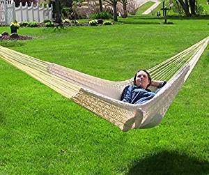 Sunnydaze Mayan Family Hammock Hand-Woven XXL Thick Cord, 880 Pound Capacity, Natural