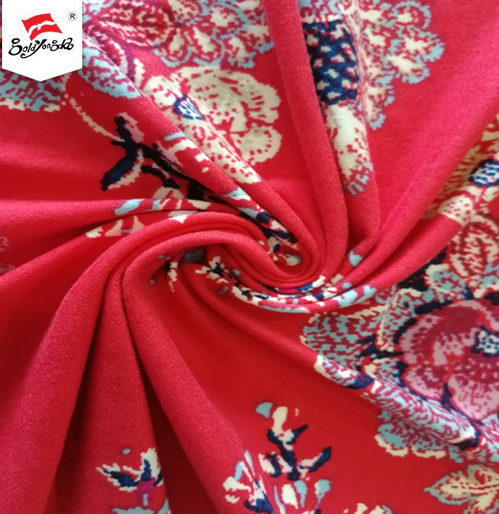 Hot sale DTY brushed floral printed knit 100% polyester single jersey fabric