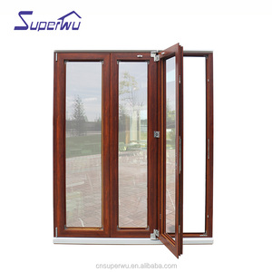 high quality Wooden grain color frame bifold door timber look door
