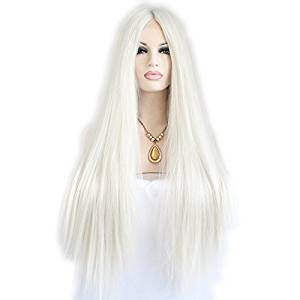 a3d954f8cc386 Get Quotations · Synthetic lace front wig for women white silky straight  with dark root with heat resistant fiber