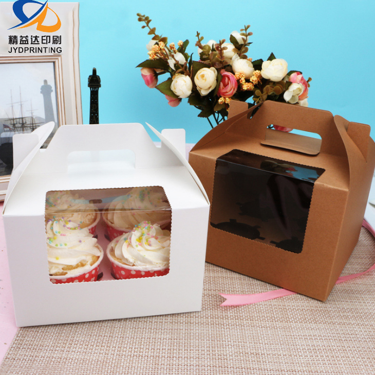 Manufacture Paper Custom Clear White Gift Muffins Cup Cake Box with Handle