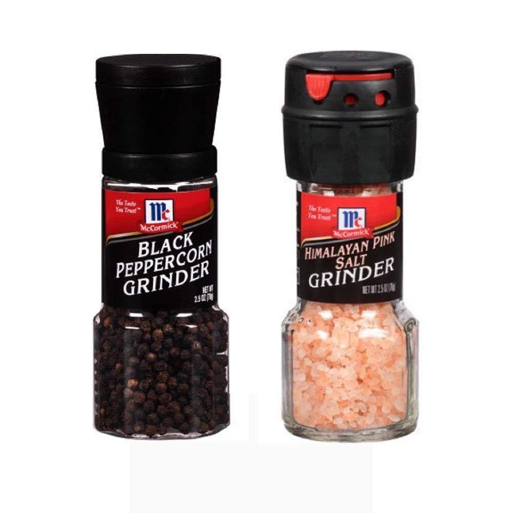 Seasoning Bundle - 2 Items: McCormick's Himalayan Pink Salt Grinder 2.5 Oz. and McCormick's Black Peppercorn Grinder 1.0 Oz