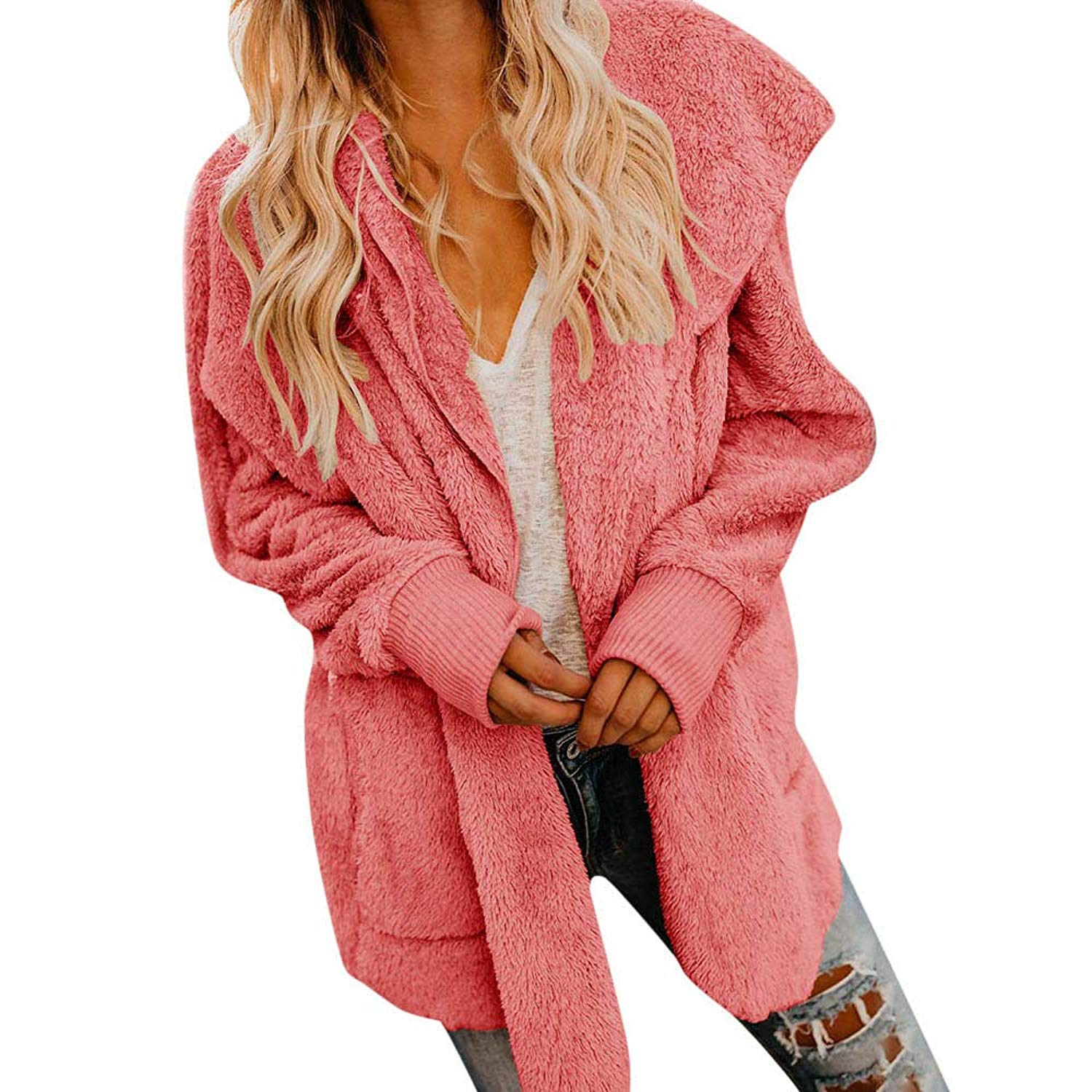 dd59a487150cc Get Quotations · Amiley Womens Open Front Hooded Cardigan Winter Sweatshirt  Jacket Faux Fur Warm Coat Top Outwear with