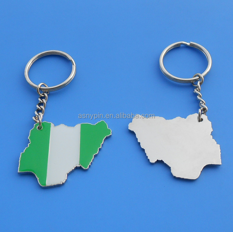 hotsale country flag design key ring silver Nigeria flag shaped key chain