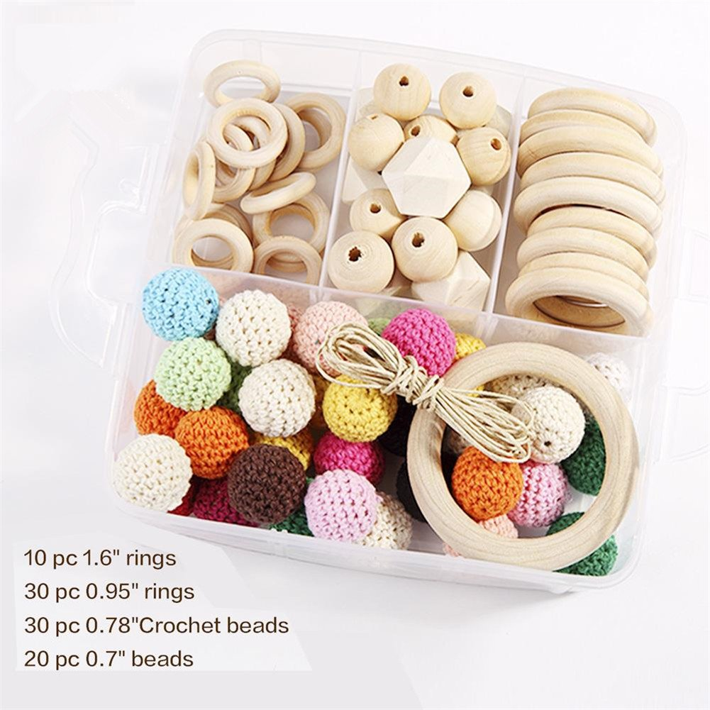 Baby Teether Beads DIY Wooden Rings Crochet Set Diy Nursing Teething Necklace Set Eco Baby New Baby Accessories Nursing Teether